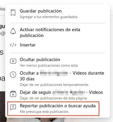 Cómo reportar una publicación en Facebook paso 1