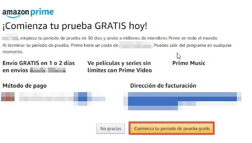 Cómo suscribirte a Amazon Prime gratis paso 6