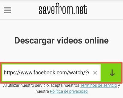 Descargar videos de Facebook desde Android paso 3