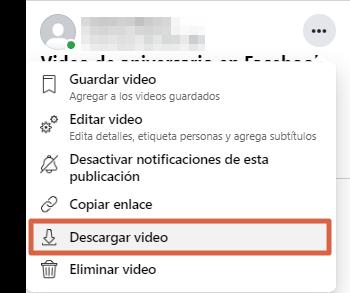 Descargar videos propios de Facebook desde PC paso 4