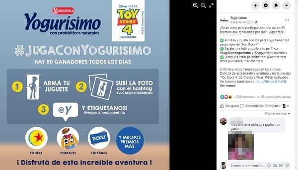 Ejemplo de concursos en Facebook