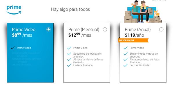 Precio de Amazon Prime Video en Estados Unidos