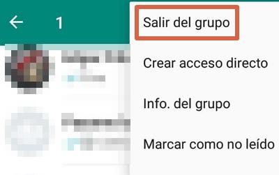 Cómo abandonar o salir de un grupo de WhatsApp desde el atajo de la ventana principal paso 3