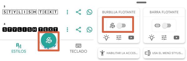 Cómo cambiar el tipo de letra o tipografía en WhatsApp desde WhatsApp usando la burbuja flotante de Stylish Text