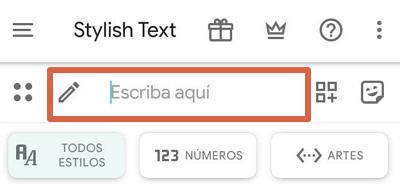 Cómo cambiar el tipo de letra o tipografía en WhatsApp desde la interfaz de Stylish Text paso 1