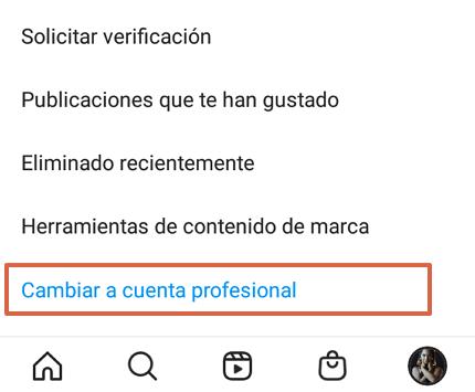 Cómo convertir un perfil de Instagram en una cuenta profesional o de empresa paso 6