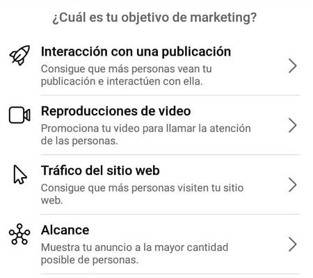 Cómo crear un anuncio en Instagram desde Facebook Ads Manager en el móvil paso 4