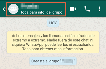 Cómo editar la información de un grupo de WhatsApp desde un Android paso 2