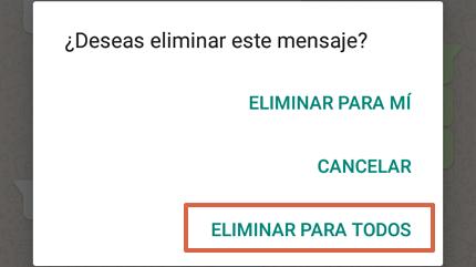 Cómo eliminar un mensaje para todos en WhatsApp paso 3