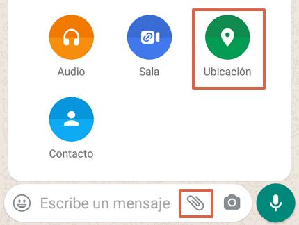 Cómo enviar la ubicación exacta por WhatsApp desde un Android paso 4