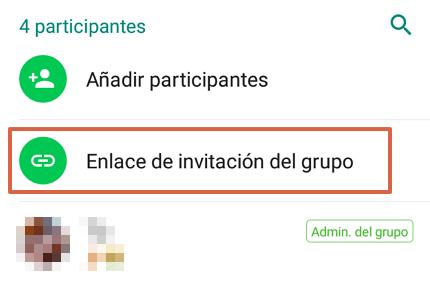 Cómo enviar un enlace de invitación a un grupo de WhatsApp desde un Android paso 2