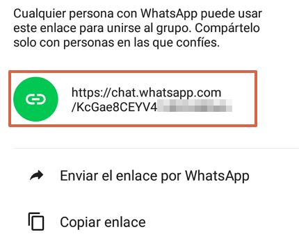 Cómo enviar un enlace de invitación a un grupo de WhatsApp desde un Android paso 3
