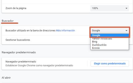 Cómo poner o establecer a Google como tu buscador predeterminado desde Google Chrome paso 3