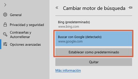 Cómo poner o establecer a Google como tu buscador predeterminado desde Microsoft Edge paso 6