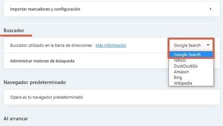 Cómo poner o establecer a Google como tu buscador predeterminado desde Opera paso 3