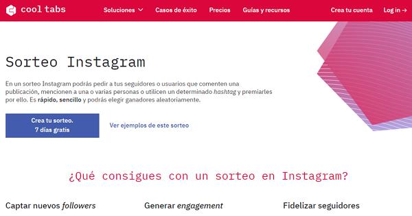 Cools Tabs App Sorteo Instagram para escoger al ganador de un sorteo en Instagram