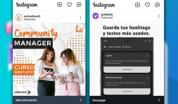 Ejemplos de anuncios en Instagram Ads