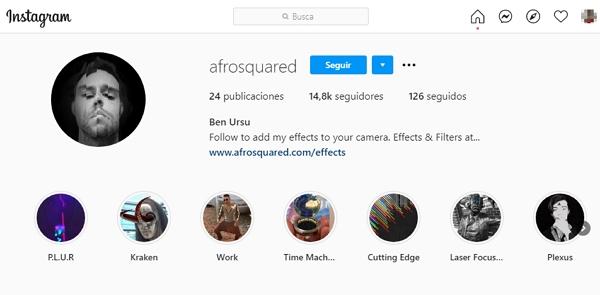 Perfil de afrosquared en Instagram