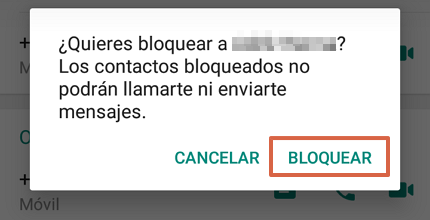 Cómo bloquear un contacto en WhatsApp paso 4