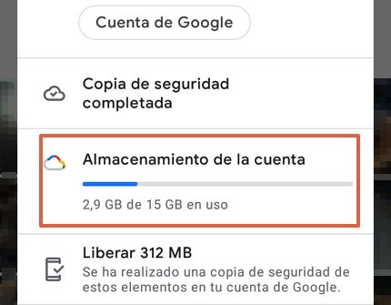 Cómo hacer una copia de seguridad en Google Fotos desde la app paso 2