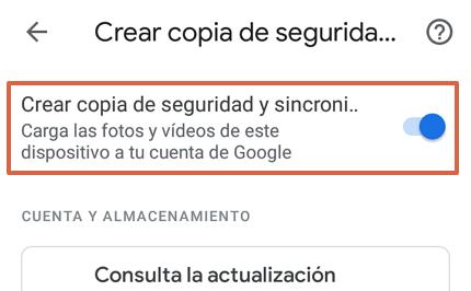 Cómo hacer una copia de seguridad en Google Fotos desde la app paso 3
