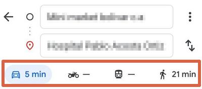 Cómo medir la distancia entre dos puntos en Google Maps desde el móvil usando la función cómo llegar paso 4