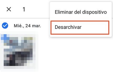 Cómo recuperar fotos y videos borrados de Google Fotos desde el archivo de la aplicación paso 4