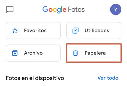 Cómo recuperar fotos y videos borrados de Google Fotos desde la app paso 2