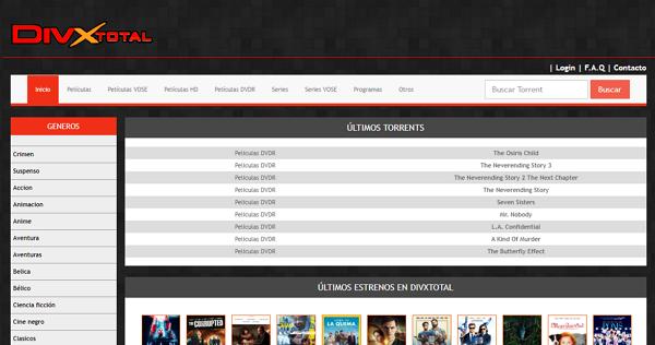 DivxTotal como página alternativa a DonTorrent