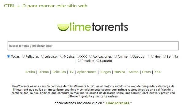 LimeTorrents como página alternativa a Cliver