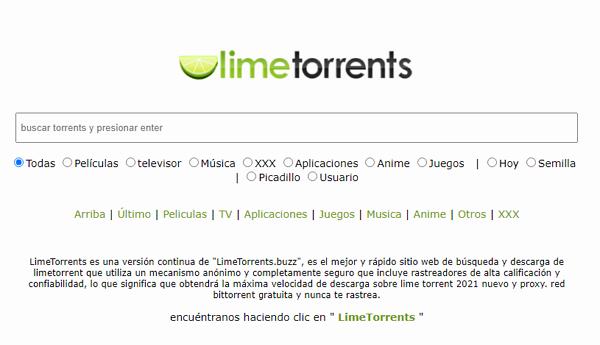 LimeTorrents como página alternativa a MejorEnVO
