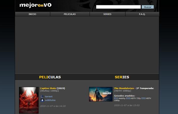 MejorEnVO como página alternativa a DivX a Tope