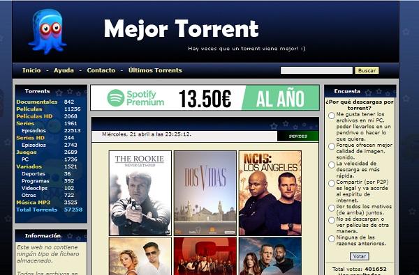MejorTorrent como página alternativa a DonTorrent