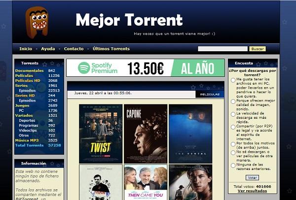 MejorTorrent como página alternativa a MejorEnVO