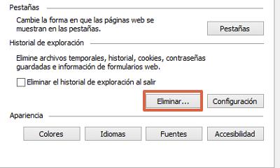 Recomendaciones para mejorar el rendimiento del navegador usando las opciones de Internet paso 5