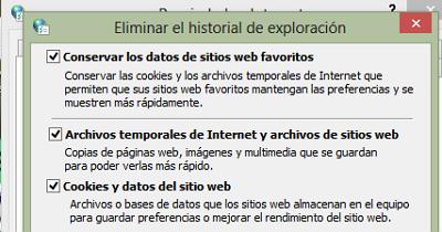 Recomendaciones para mejorar el rendimiento del navegador usando las opciones de Internet paso 6