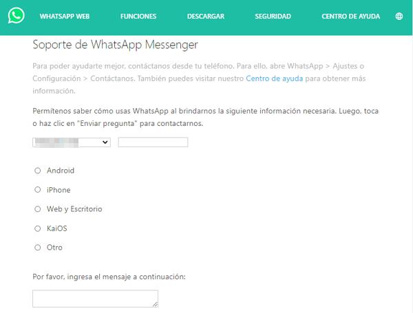 Recuperar la cuenta de WhatsApp bloqueada a través del soporte de WhatsApp Messenger