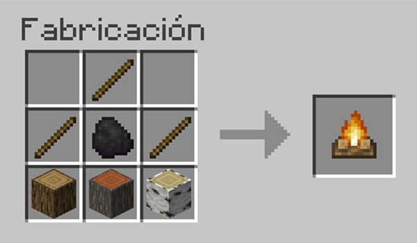 Cómo craftear una fogata en Minecraft