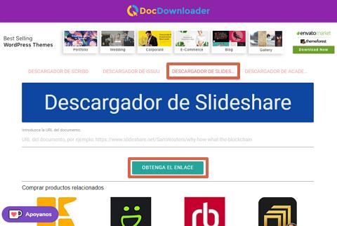 Cómo descargar presentaciones de SlideShare con DocDownloader paso 1