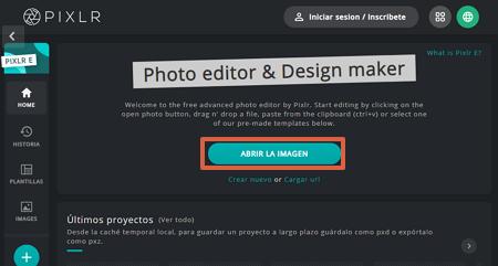 Cómo quitar la marca de agua de una imagen con Pixlr paso 1