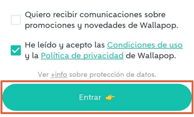 Cómo registrarse o crear una cuenta en Wallapop desde el celular usando la app móvil paso 6