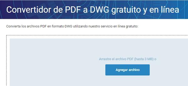 Convertidor de PDF a DWG gratuito y en línea