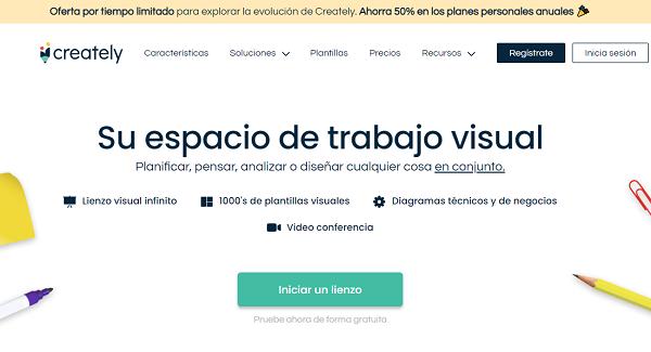 Creately como página web para hacer o crear infografías