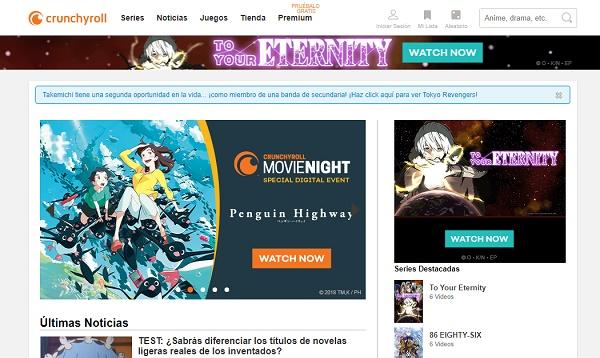 Crunchyroll como página web para leer manga en Internet