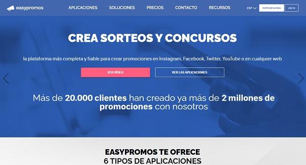 Easypromos como página web para hacer o realizar sorteos