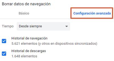 Error ERR_EMPTY_RESPONSE en Google Chrome cómo solucionarlo borrando el historial de navegación paso 3