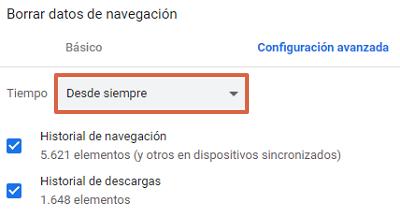 Error ERR_EMPTY_RESPONSE en Google Chrome cómo solucionarlo borrando el historial de navegación paso 4