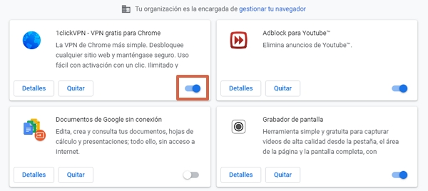 Error ERR_EMPTY_RESPONSE en Google Chrome cómo solucionarlo desactivando las extensiones de Chrome