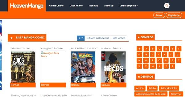 HeavenManga como página web para leer manga en Internet