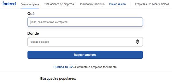 Indeed como página web para buscar y conseguir empleo en Internet